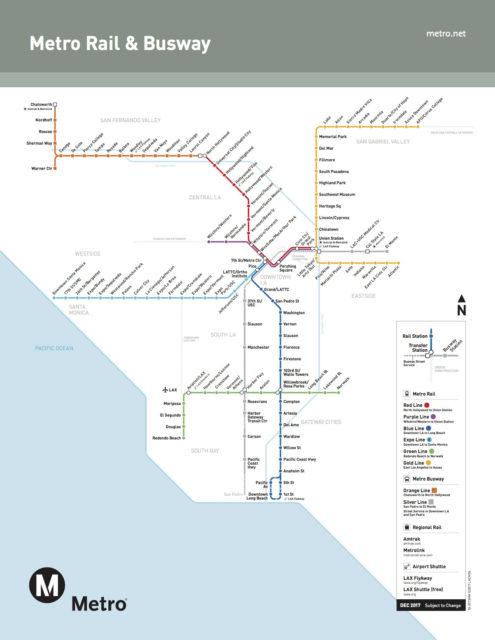 ロサンゼルス地下鉄の路線図