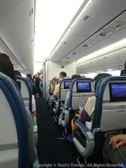 デルタ航空の機内(エアバスA350)