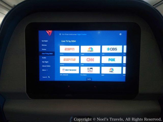 デルタ航空の機内で見られるテレビチャンネル