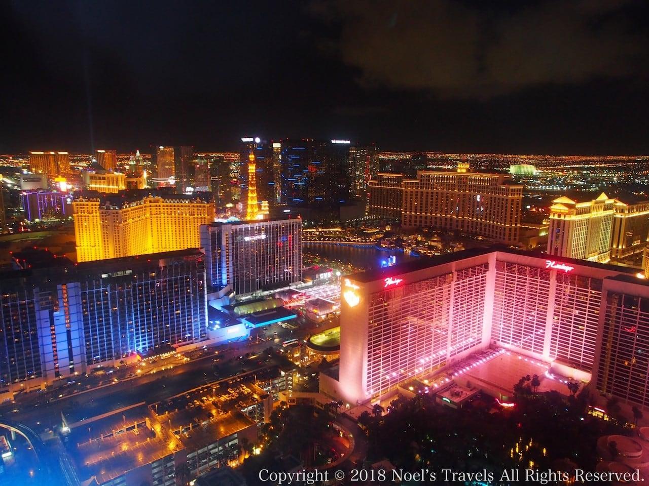 世界最大の観覧車「ハイローラー」から見たラスベガスの夜景