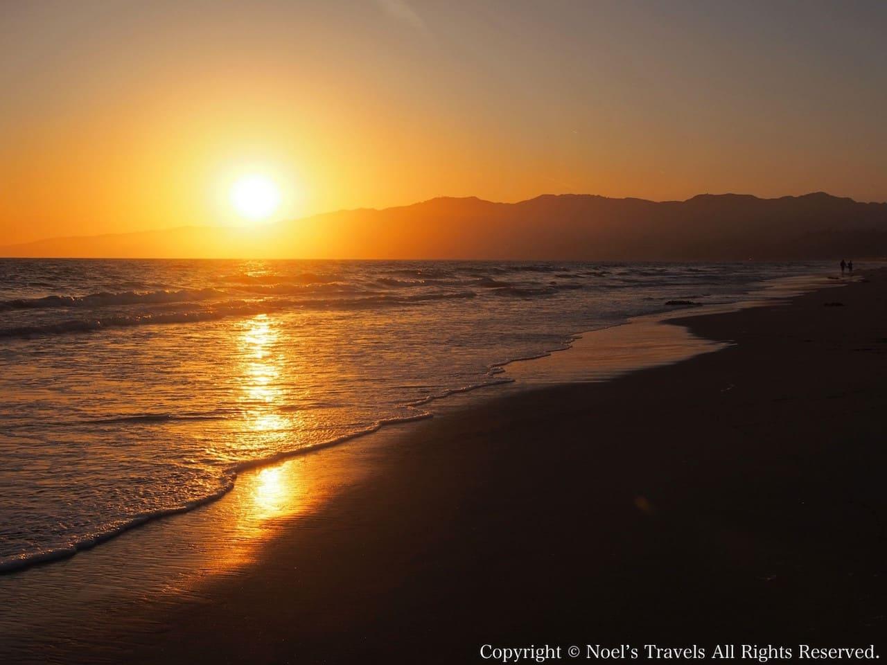 サンタモニカビーチの夕日
