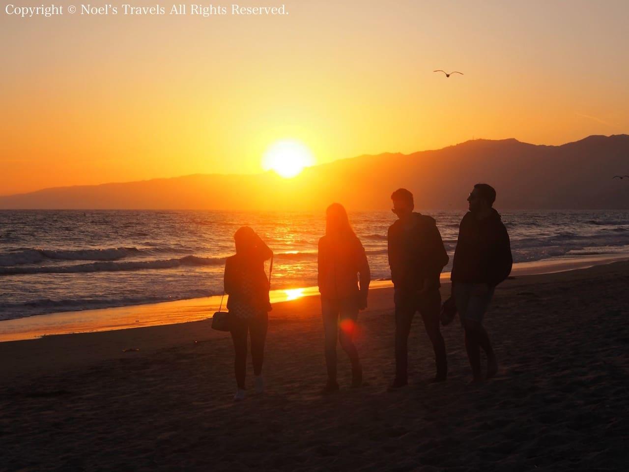 夕暮れのサンタモニカビーチ