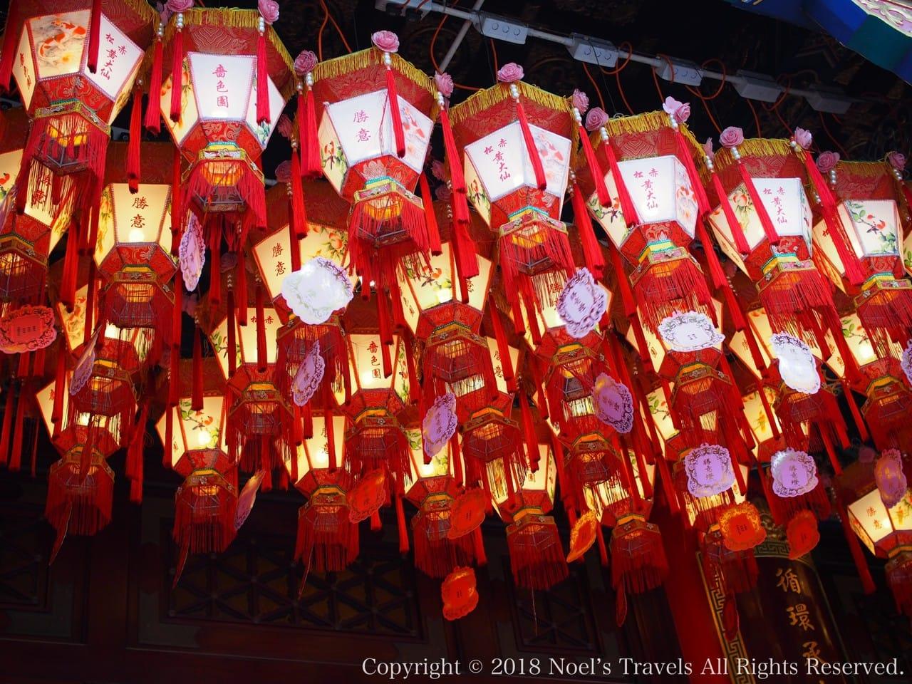 香港の黄大仙のランタン