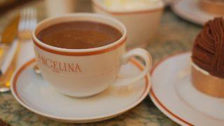 パリのアンジェリーナのホットチョコレートとモンブラン