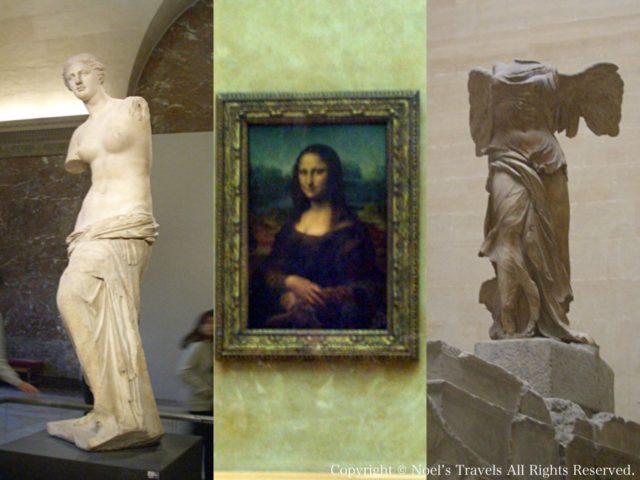 ルーブル美術館のミロのヴィーナス、モナ・リザ、サモトラケのニケ
